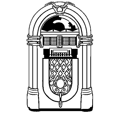 1950s jukebox coloring page
