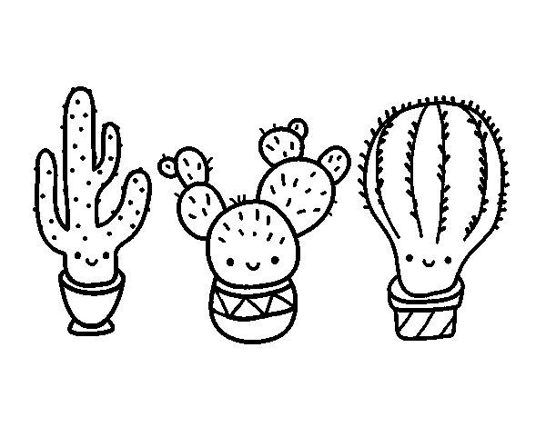 3 mini cactus coloring page
