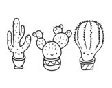 3 mini cactus coloring page