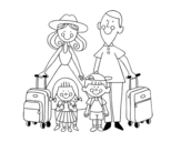 A family vacation coloring page