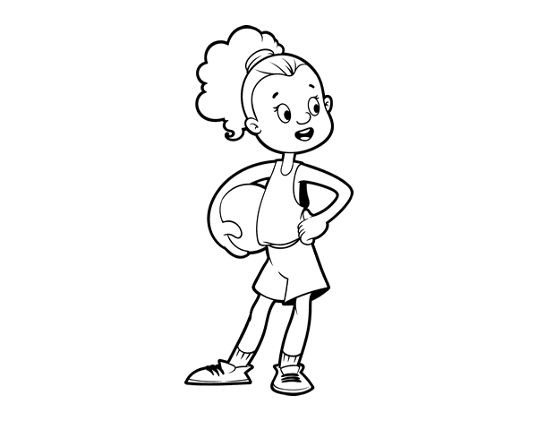 A Female Basketball Player Coloring Page