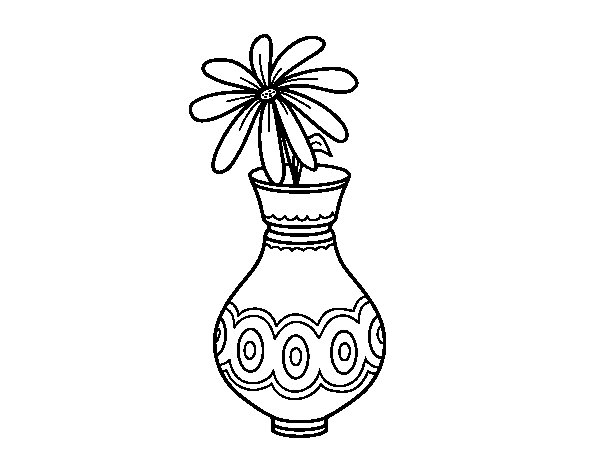 A flower in a vase coloring page