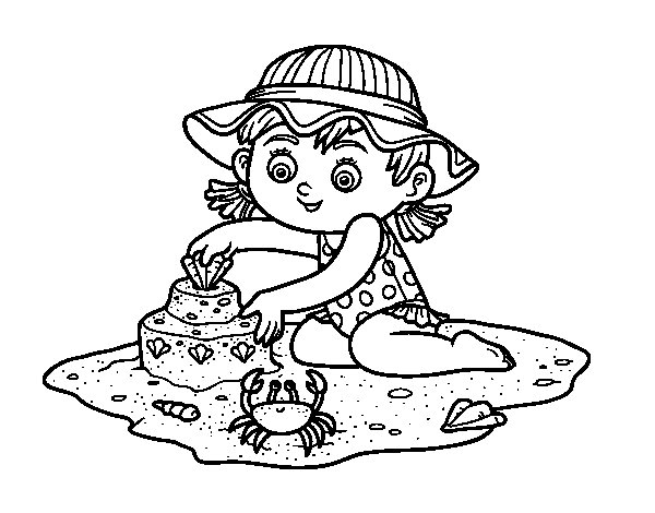 A girl playing on the beach coloring page