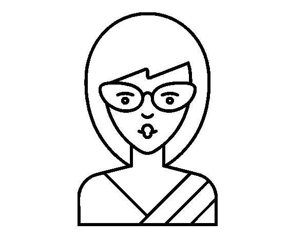 A girl with glasses coloring page