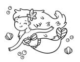 A Happy Mermaid coloring page