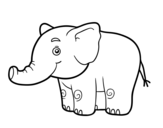 A little elephant coloring page