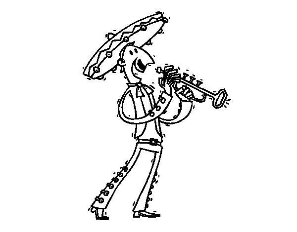 A Mariachi coloring page