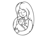 A mother and her baby coloring page