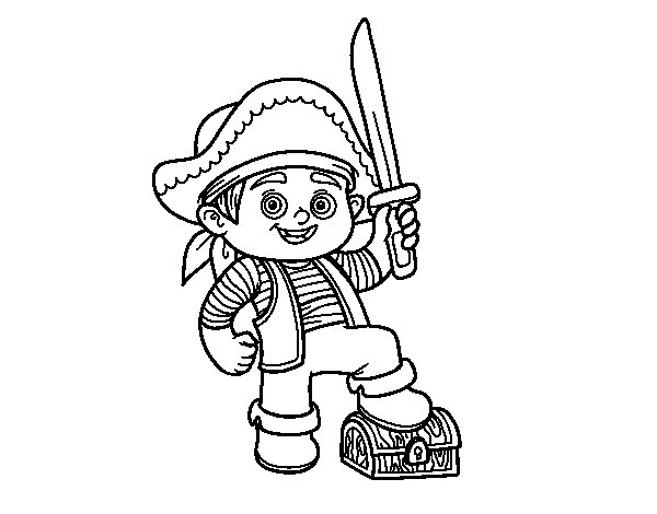 A pirate boy coloring page