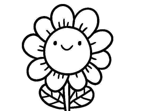 A smiling flower coloring page