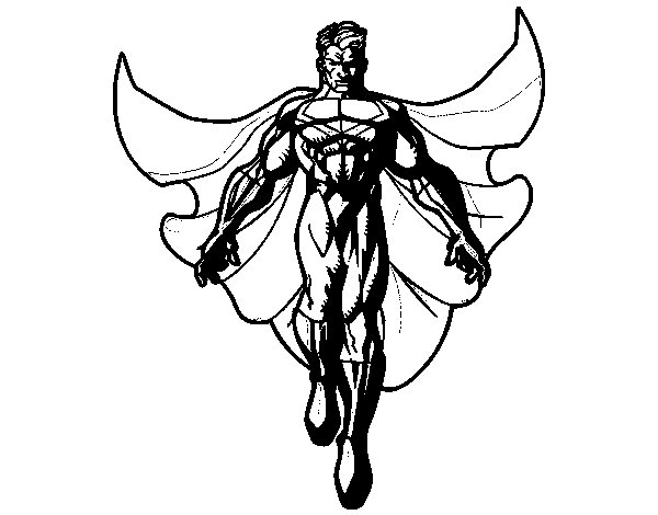 A Superhero flying coloring page