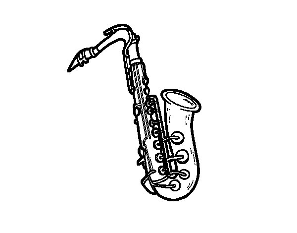 A tenor saxophone coloring page