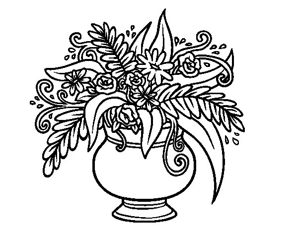A vase with flowers coloring page