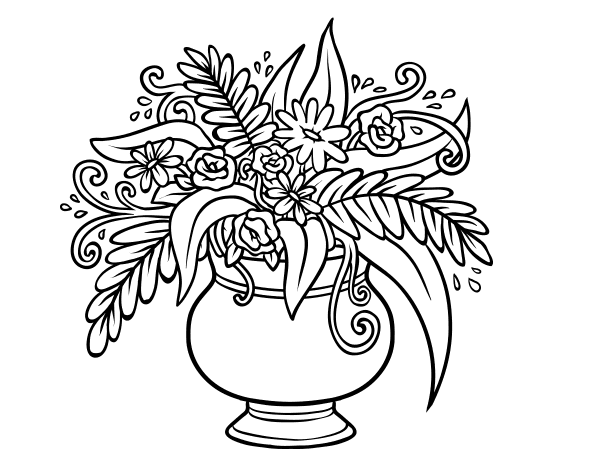 Vase With Flowers Coloring Page A Coloringcrew