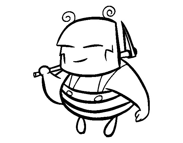 A worker bee coloring page