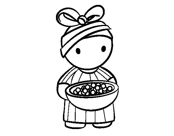 African girl coloring page