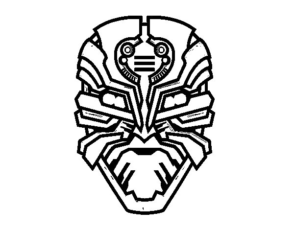 Alien robot mask coloring page