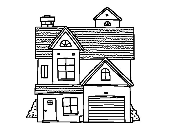 American family house coloring page