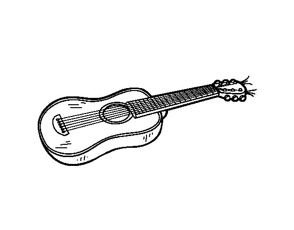 An acoustic guitar coloring page