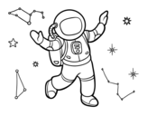 An astronaut in star space coloring page