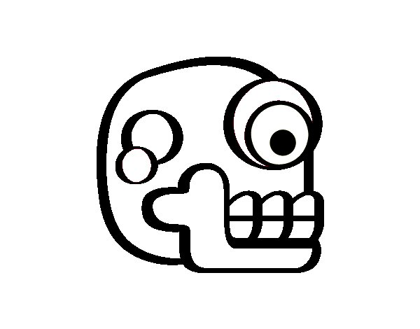 An Aztec skull coloring page