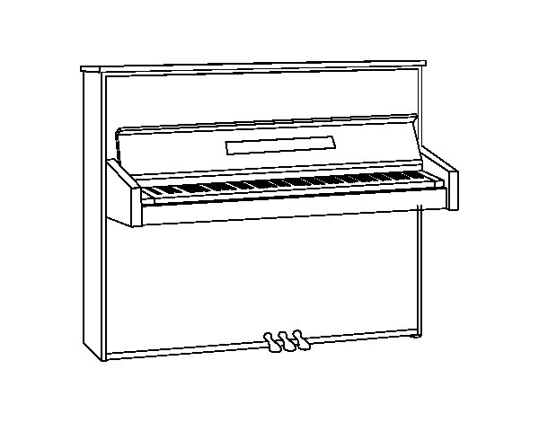 An upright piano coloring page