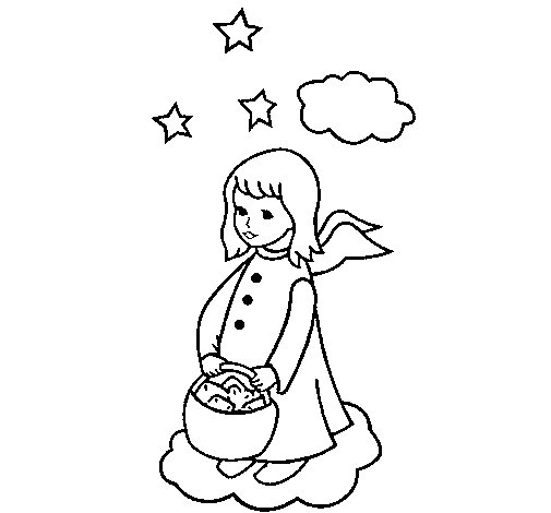 Angel with basket coloring page