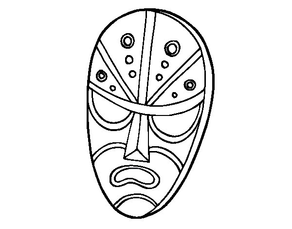 Angry mask coloring page