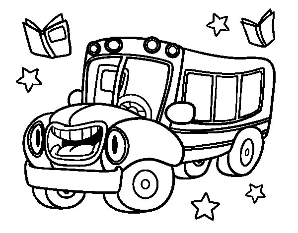 Animated bus coloring page