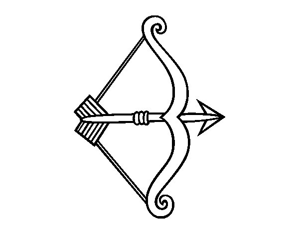 Arrow with bow coloring page
