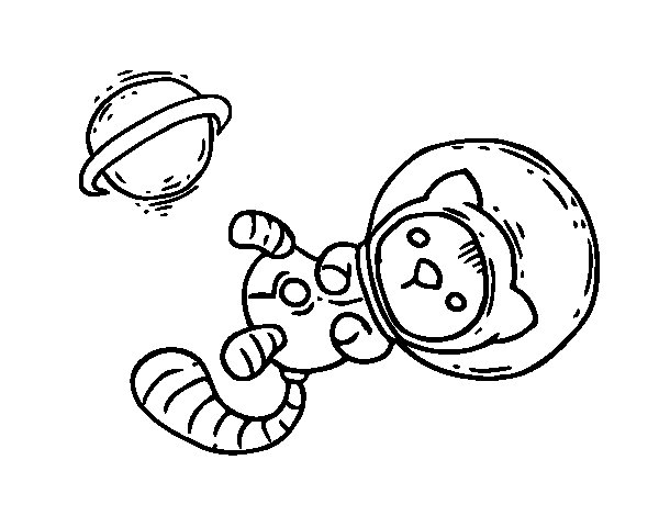 Astronaut kitten coloring page