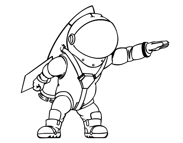 Astronaut With Rocket Coloring Page