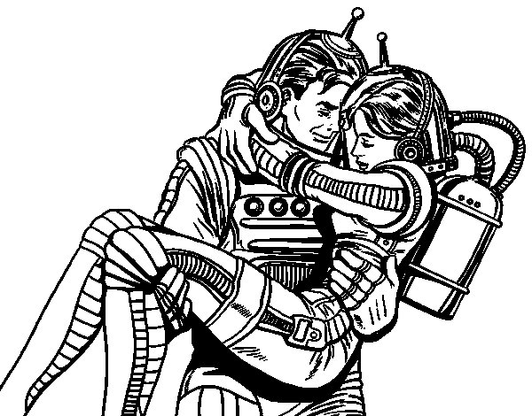 Astronauts in love coloring page