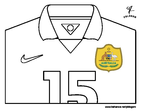 Australia World Cup 2014 t-shirt coloring page