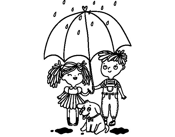 Autumn rain coloring page