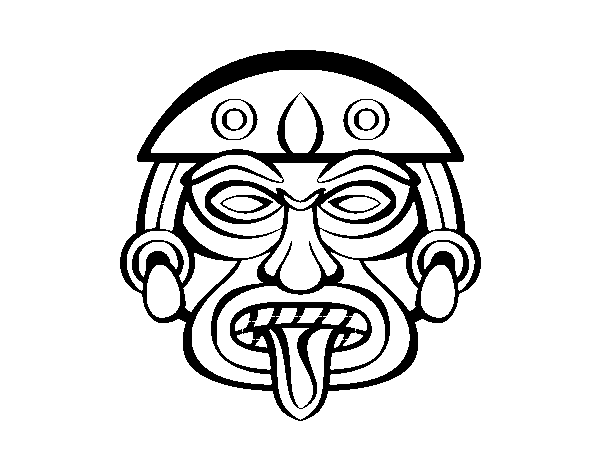 aztec mask coloring pages | Aztec mask coloring page - Coloringcrew.com
