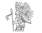 Aztec warrior coloring page