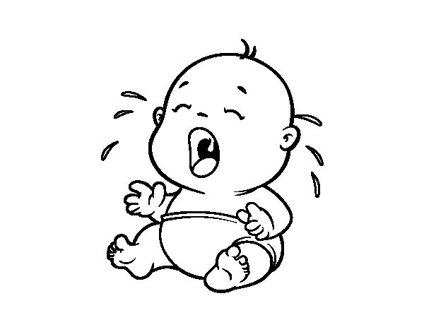 Baby Crying  Coloring Page