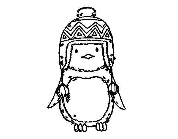 Baby penguin with cap coloring page