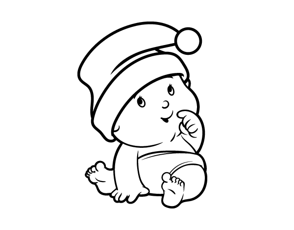 Baby with santa claus hat coloring page for Santa claus hat coloring page