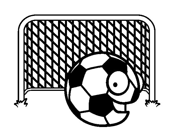 Ball in goal coloring page