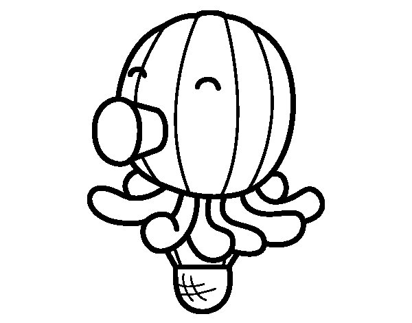 Balloon-Octopus coloring page