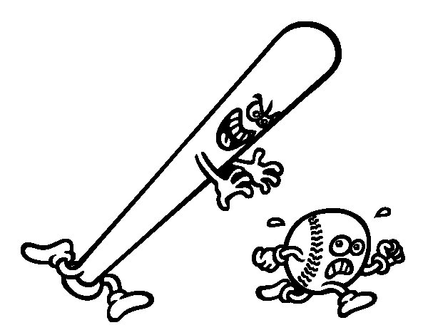 Baseball bat chasing a ball coloring page
