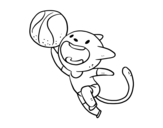 Basket cat coloring page