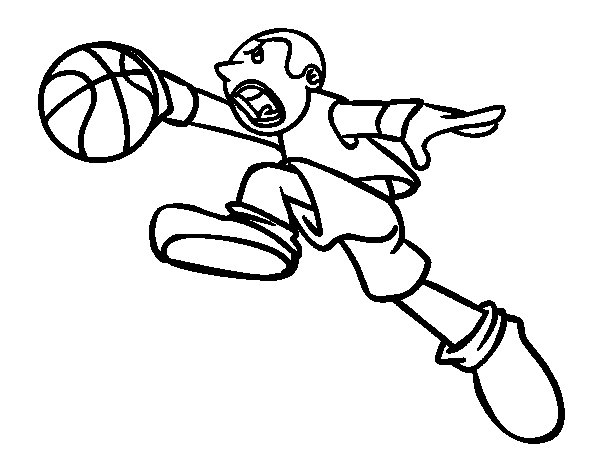Basket jump coloring page