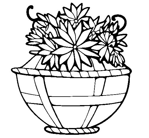 Basket of flowers 11 coloring page