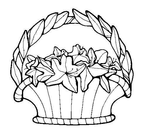 Basket of flowers 4 coloring page