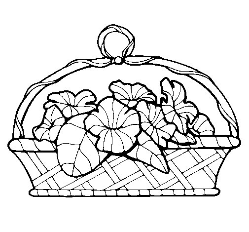 Basket of flowers 5 coloring page