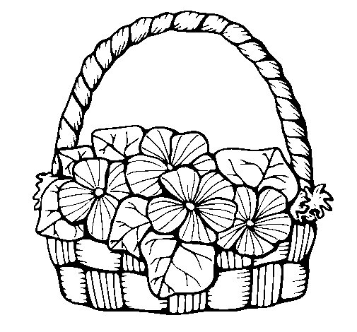 Basket of flowers 6 coloring page