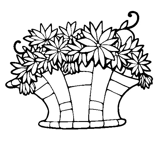 Basket of flowers 7 coloring page